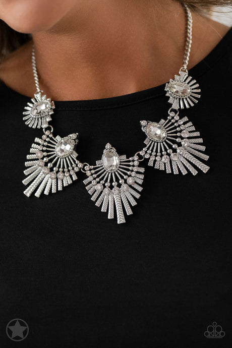 Paparazzi Miss You-niverse White Rhinestone and Silver Necklace Blockbuster
