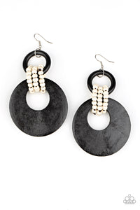 Beach Day Drama - Black Wood and Beads Earrings Paparazzi Accessories New