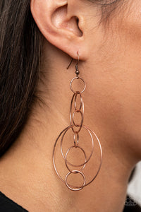 Running Circles Around You - Copper Earrings Paparazzi Accessories New