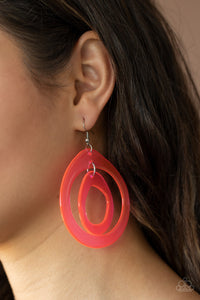 Show Your True NEONS - Pink Acrylic Earrings Paparazzi Accessories New