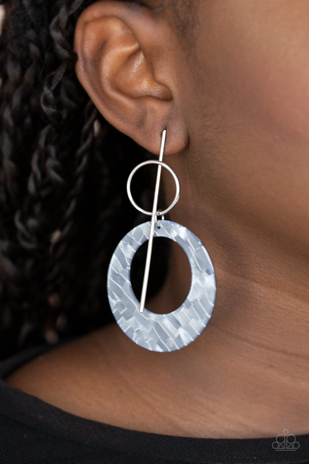 Paparazzi Stellar Stylist - Silver Acrylic Earrings New