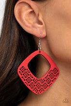 Load image into Gallery viewer, WOOD You Rather - Red WOOD Earrings Paparazzi Accessories New