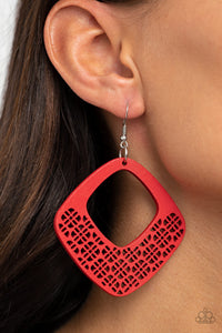 WOOD You Rather - Red WOOD Earrings Paparazzi Accessories New