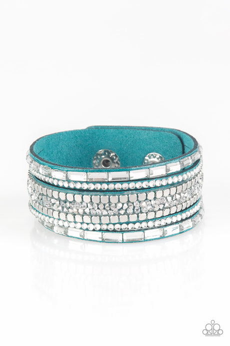 Rebel In Rhinestones - Blue Wrap Bracelet Paparazzi Accessories New