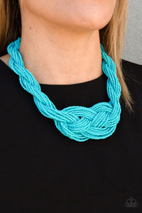 A Standing Ovation Blue Seed Bead Necklace