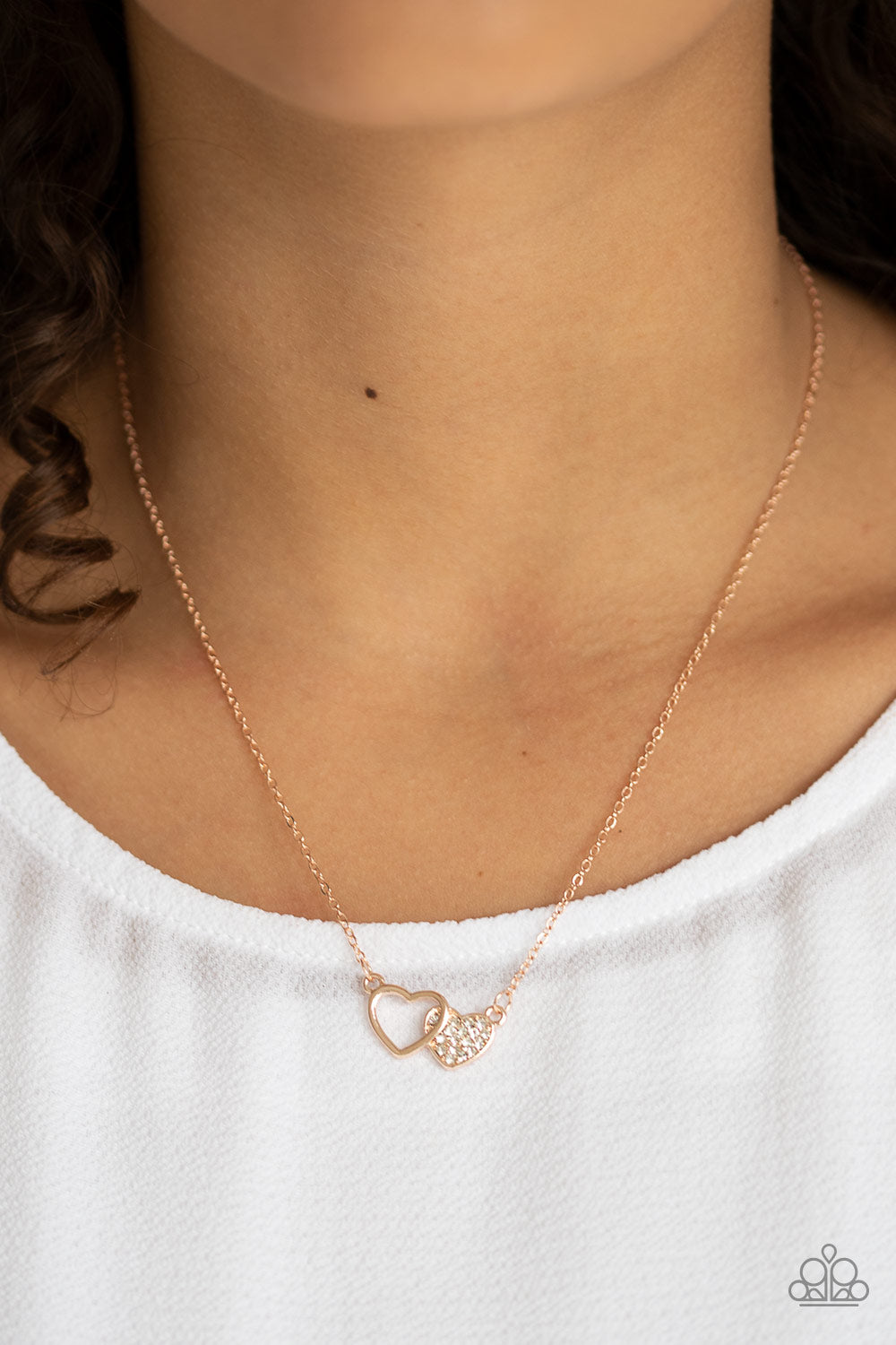 Charming Couple Necklace Rose Gold Heart