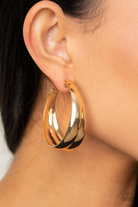 Colossal Curves - Gold Earrings Paparazzi Accessories New