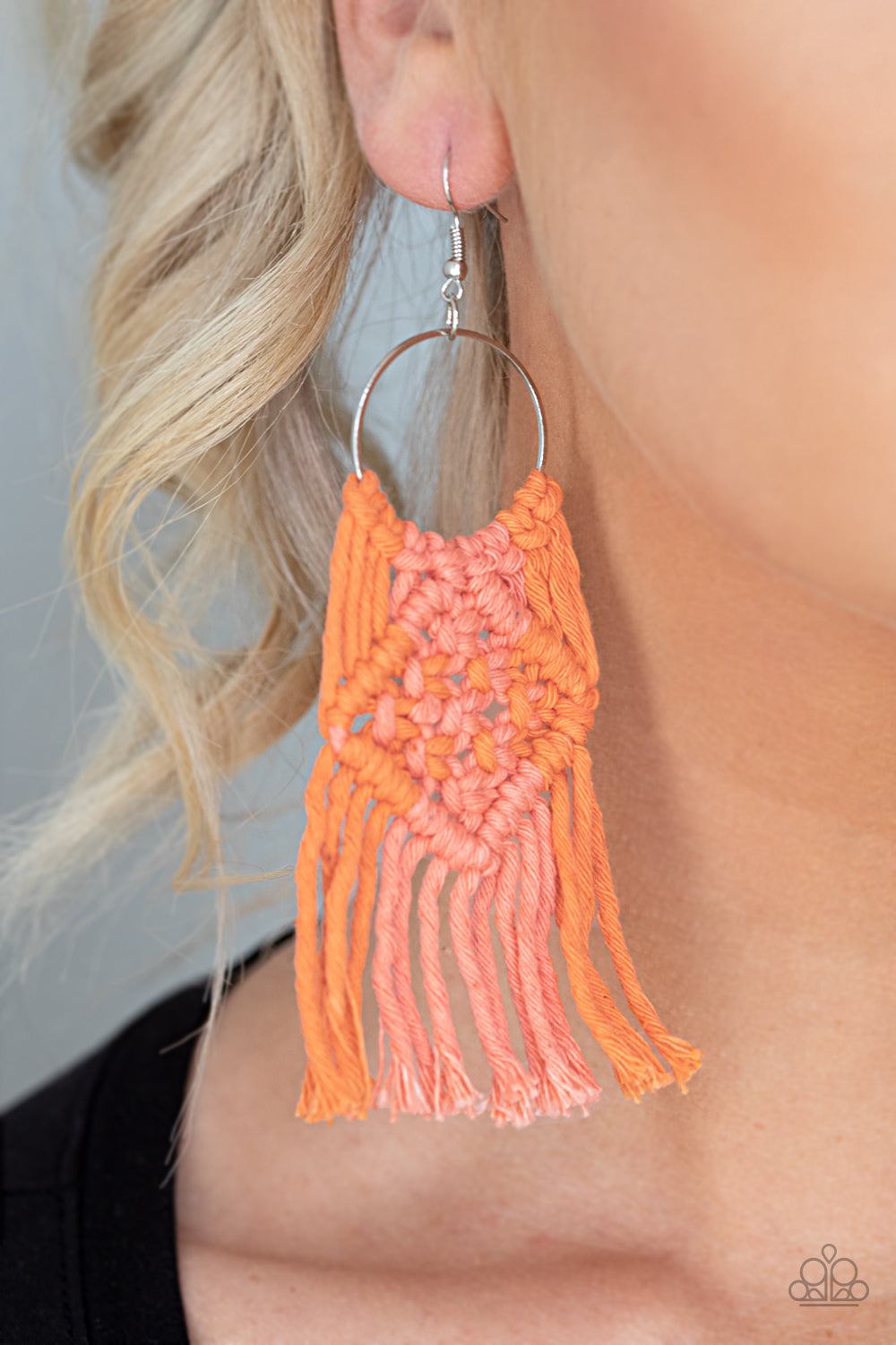 Macrame Rainbow - Orange Earrings Paparazzi Accessories
