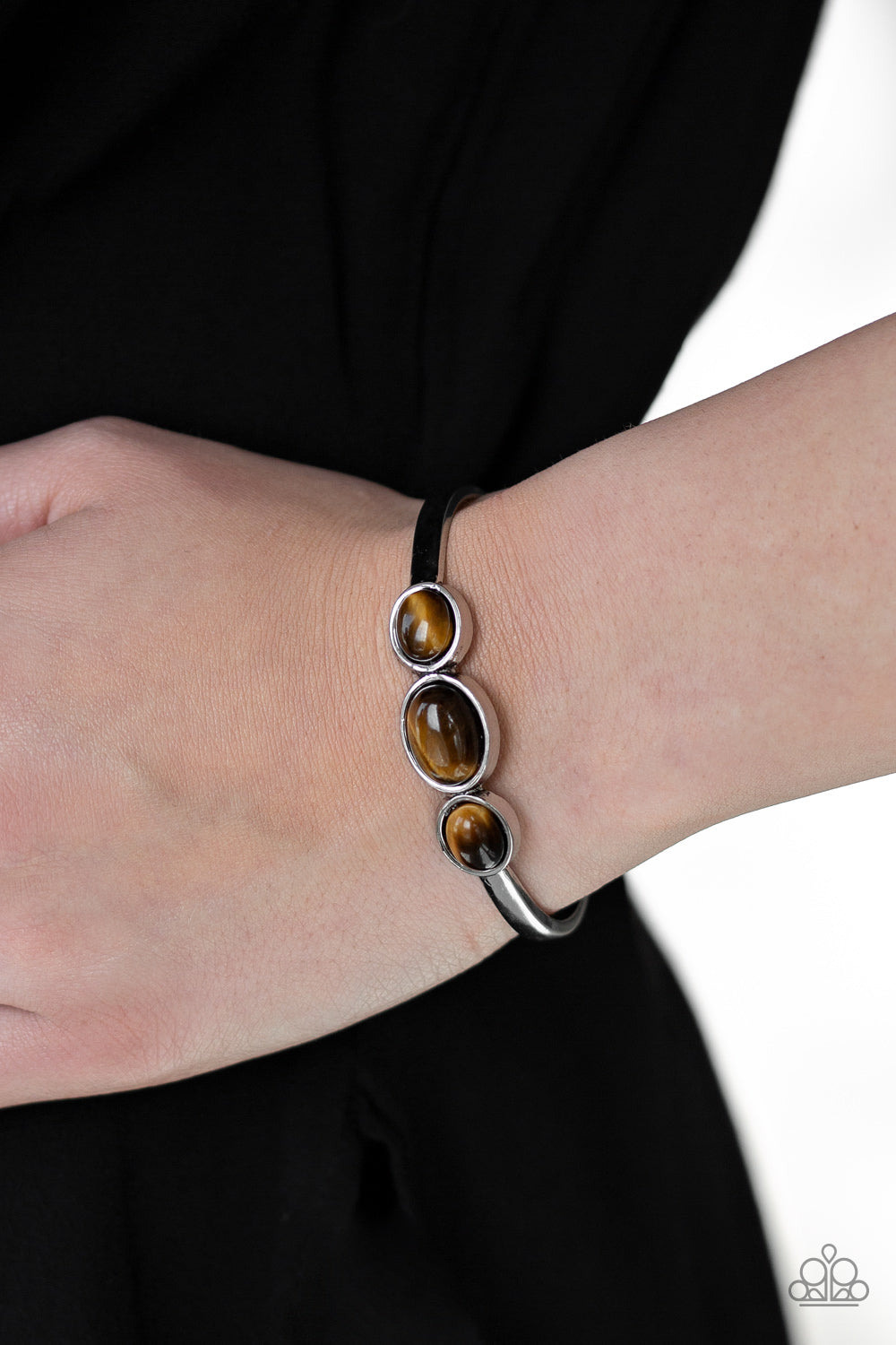 ROAM Rules – Paparazzi – Brown Tiger's Eye Stone Silver Cuff Bracelet