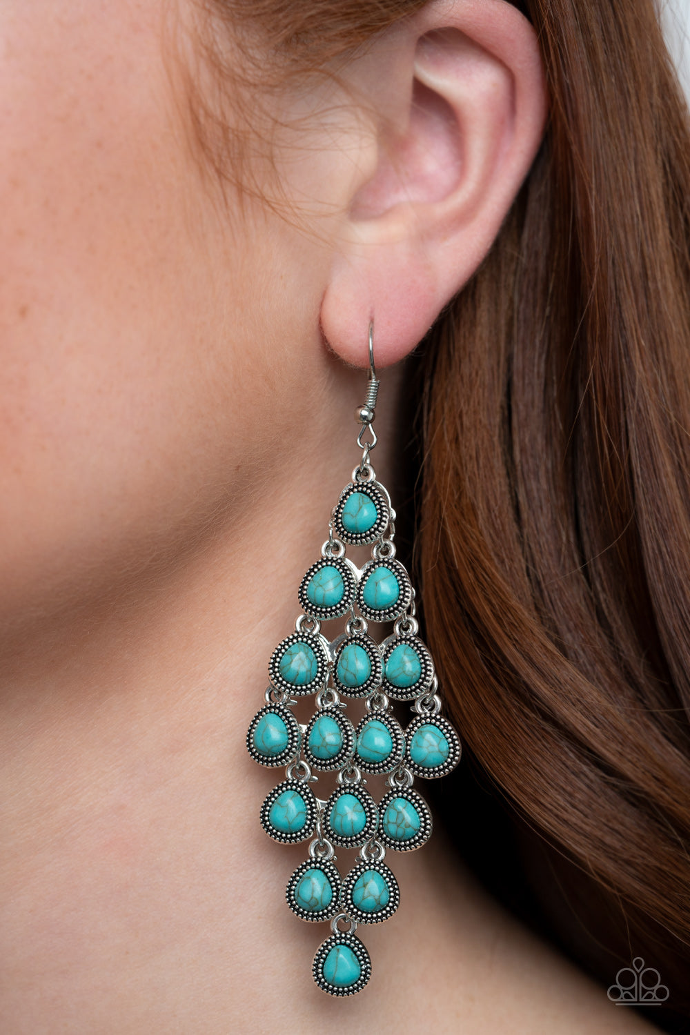 Rural Rainstorms - Blue Earrings Paparazzi Accessories New