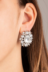 Serious Star Power - White Earrings Paparazzi Accessories New