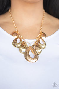Teardrop Tempest - Gold Necklace AND Earrings New