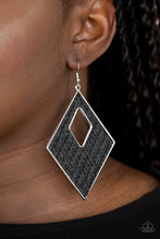 Load image into Gallery viewer, Woven Wanderer - Black Earrings Paparazzi Accessories New