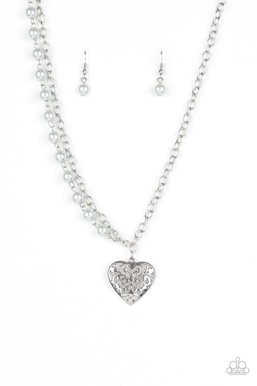Forever In My Heart - Silver Necklace Paparazzi Accessories New