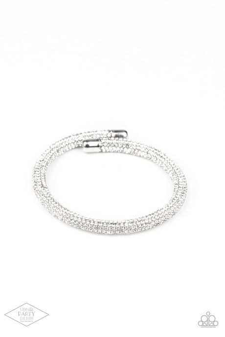 Stageworthy Sparkle - White Coil Bracelet Paparazzi Accessories New