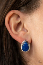 Load image into Gallery viewer, Paparazzi Stone Spectacular - Blue Post Back Earrings