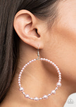 Load image into Gallery viewer, Boss Posh - Pink Pearl Hoop Earrings Paparazzi Accessories New