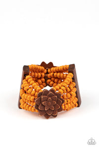 Tropical Sanctuary - Orange and Brown  wood Bracelet Paparazzi Accessories New