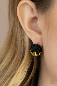 As Happy As Can BEAD - Black Post Earrings Paparazzi Accessories New