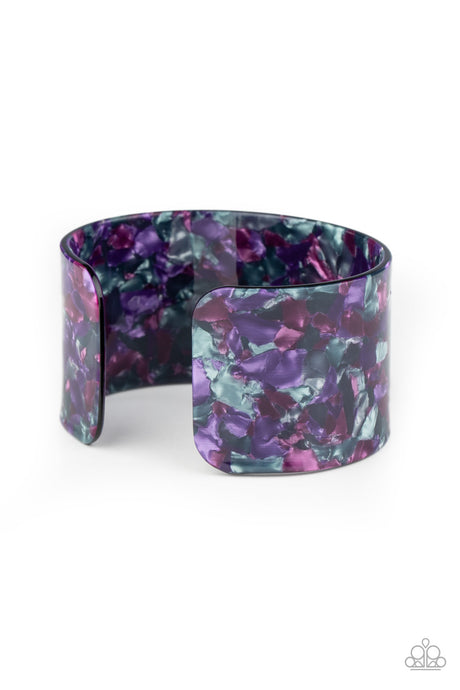 Freestyle Fashion - Purple Acrylic Cuff Bracelet Paparazzi Accessories New