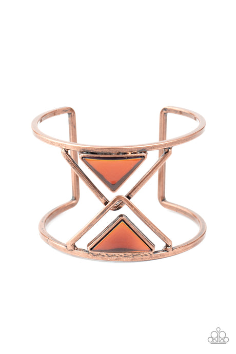 Pyramid Palace - Copper Cuff Bracelet Paparazzi Accessories New