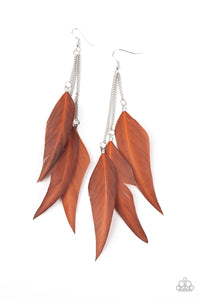 West Side Western - Brown FEATHER Earrings Paparazzi Accessories New