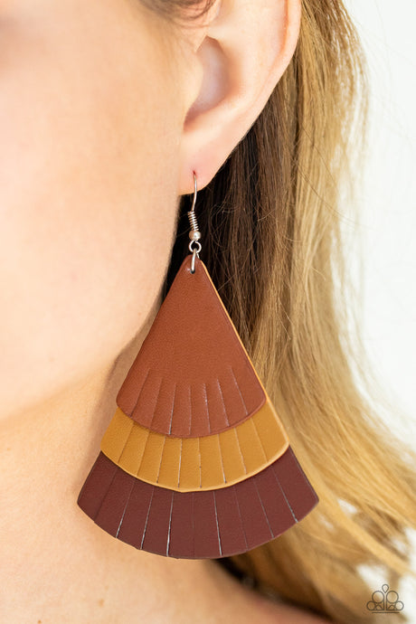 Huge Fanatic - Multi colored Leather Earrings  Paparazzi Accessories New