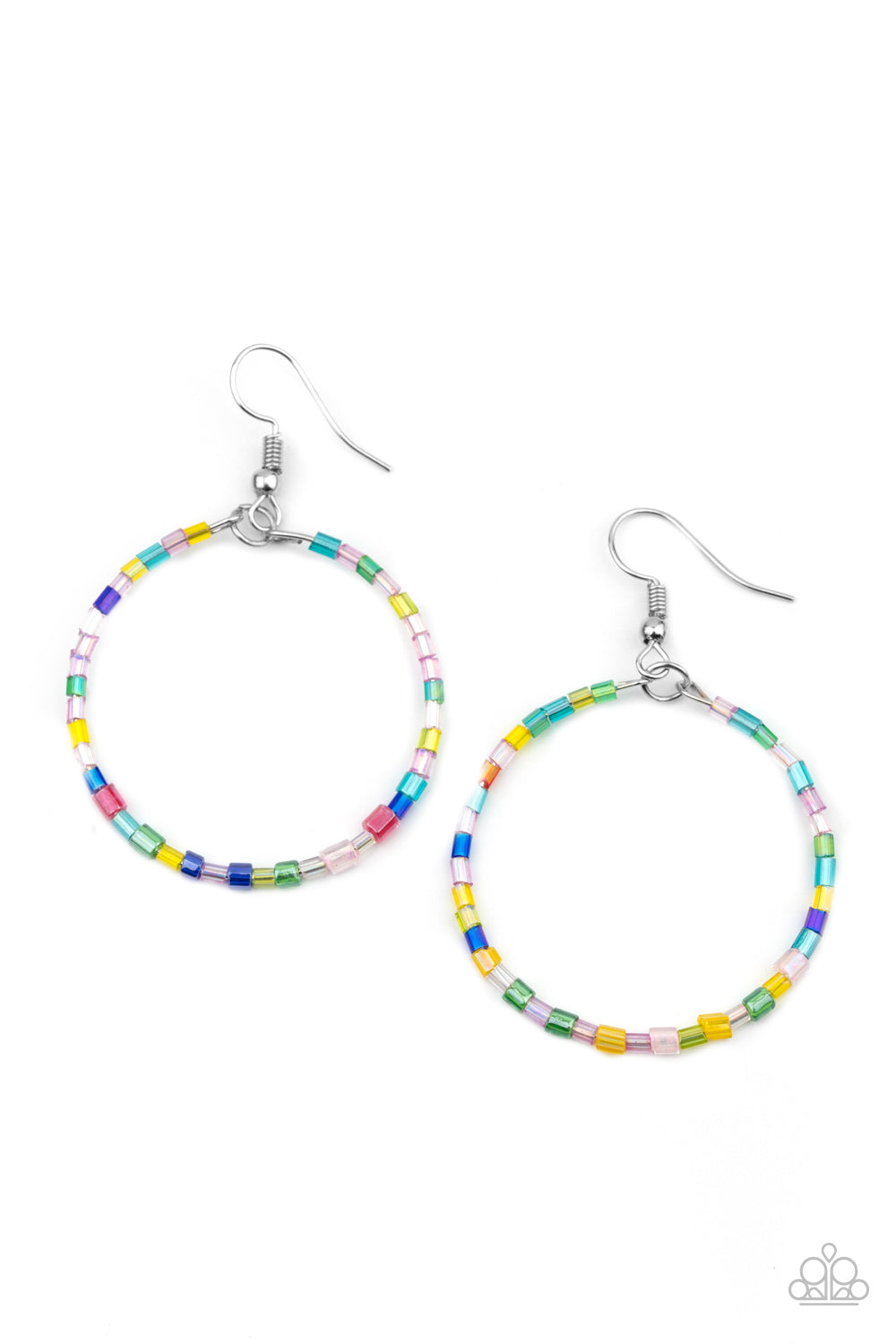 Colorfully Curvy - Multi Colored Earrings Paparazzi New