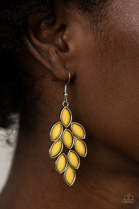 Flamboyant Foliage - Yellow Earrings  Paparazzi Accessories New
