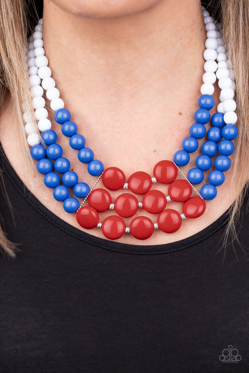 Paparazzi Beach Bauble Multi Colored Red White and Blue Necklace