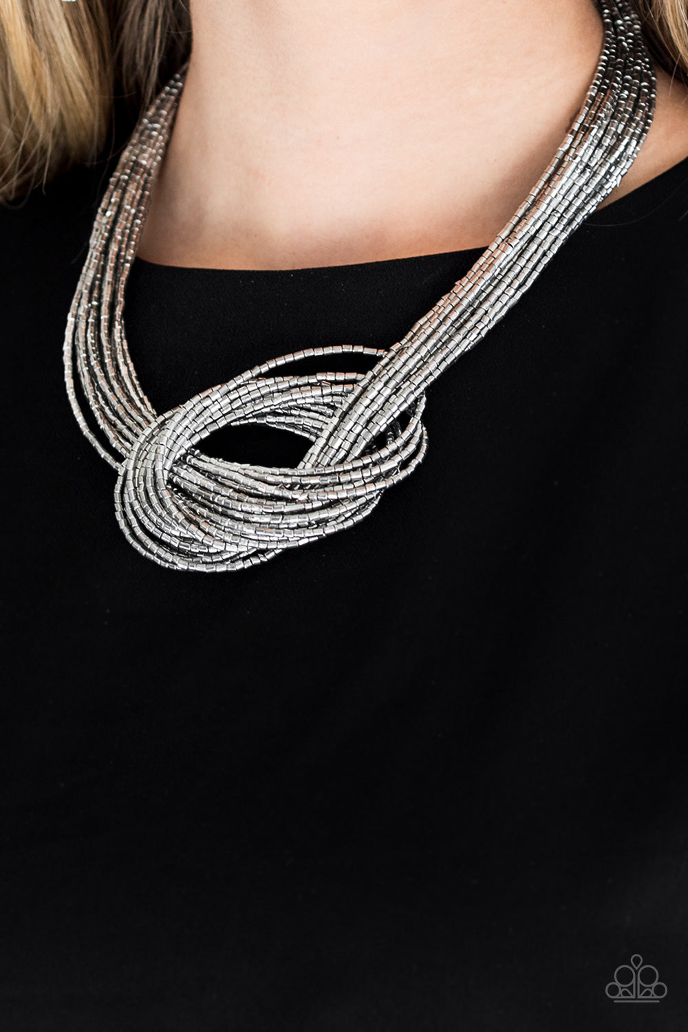 Paparazzi Knotted Knockout Silver Seed Bead Necklace