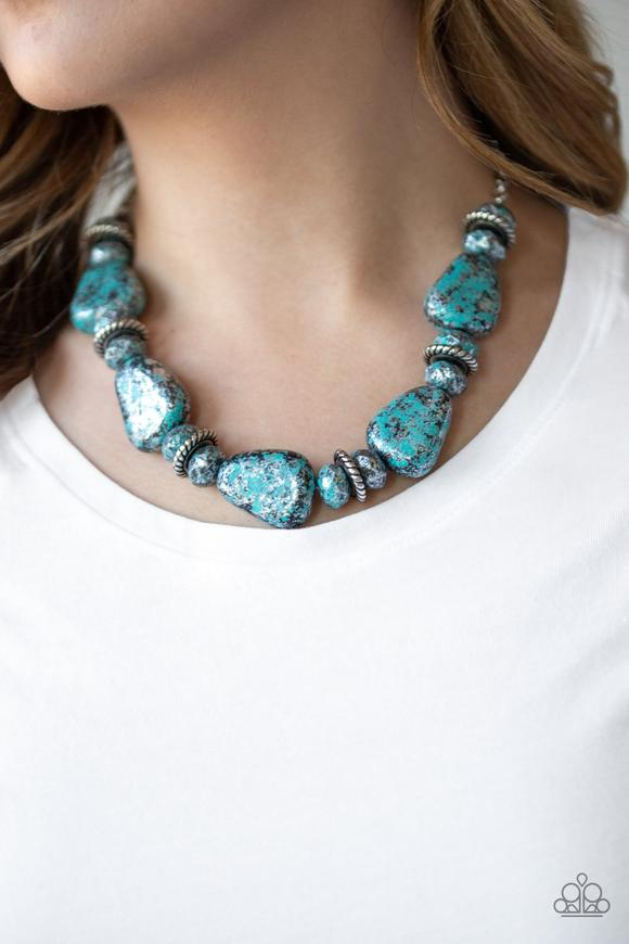 Paparazzi Prehistoric Fashionista Blue Chunky Necklace