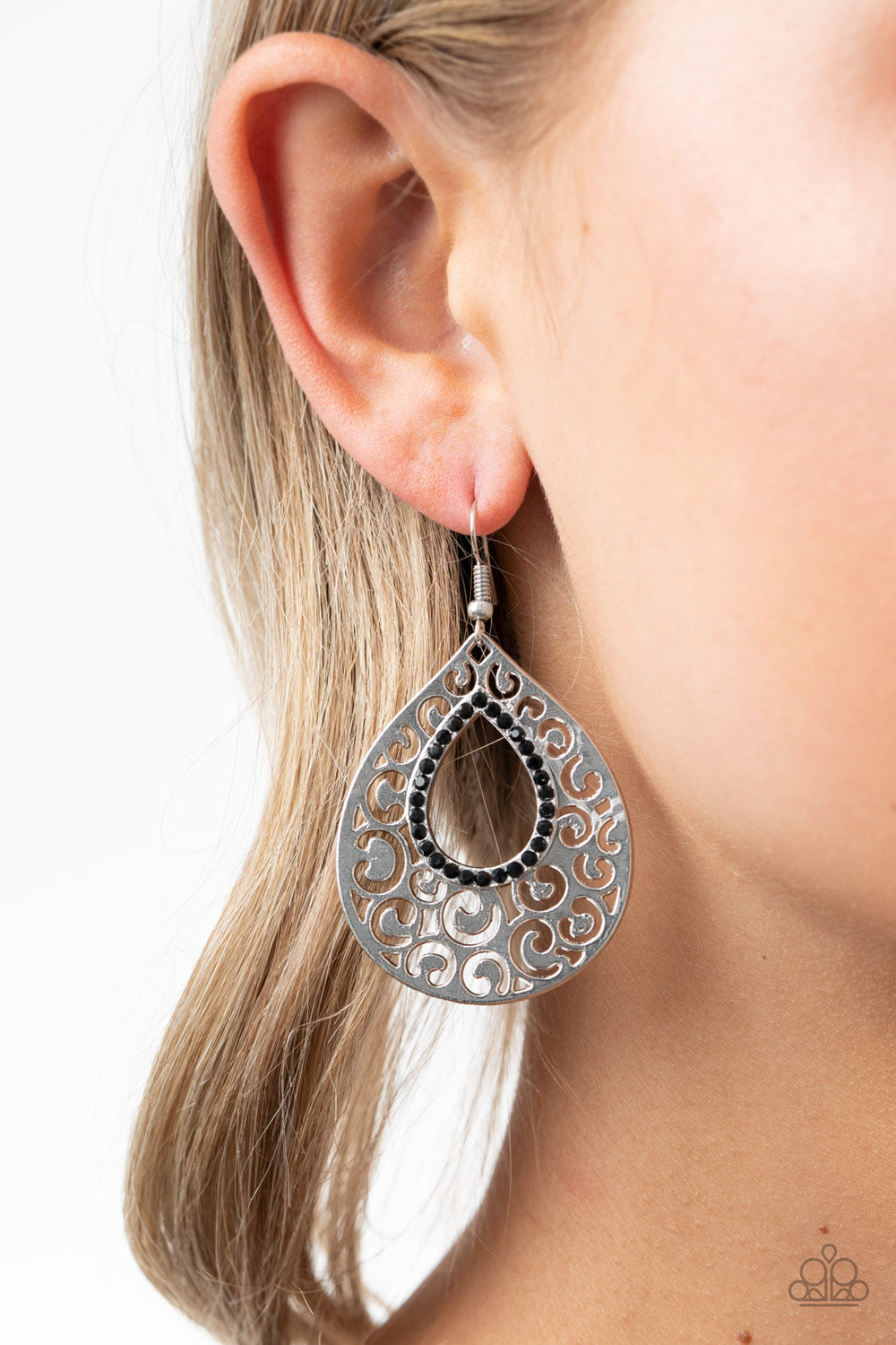 Paparazzi Airy Applique - Black Earrings New