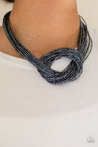 Paparazzi Knotted Knockout Blue Seed Bead Necklace