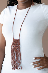 Macrame Mantra - Brown Necklace Paparazzi Accessories New