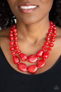 Paparazzi Beach Glam - Red Necklace New