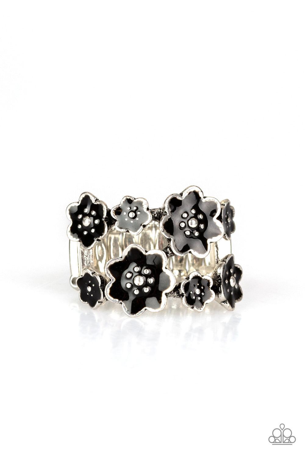 Paparazzi Floral Crowns Black Ring