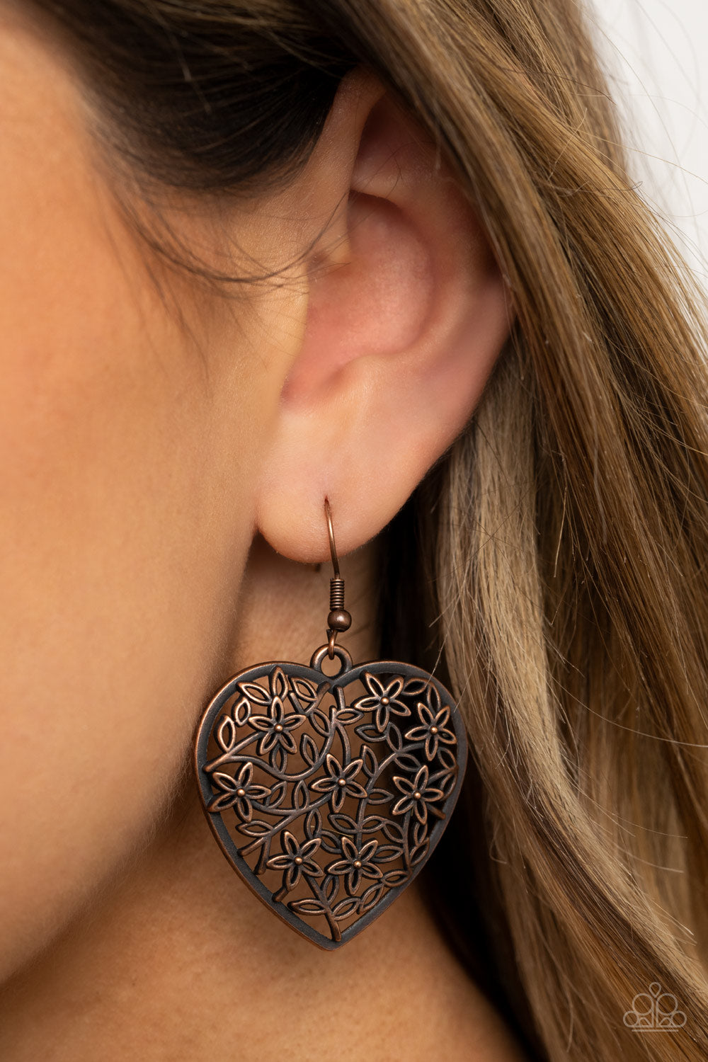 Let Your Heart Grow - Copper Earrings Paparazzi Accessories New