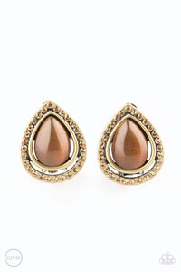Noteworthy Shimmer - Brass CLIP ON Earrings Paparazzi Accessories New