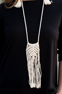 MACRAME MANTRA - PAPARAZZI - WHITE MACRAME PENDANT NECKLACE Convention Exclusive