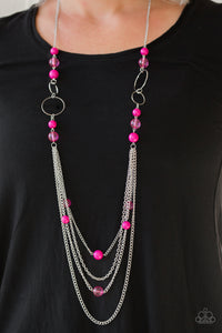 Paparazzi Bubbly Bright - Pink Necklace New