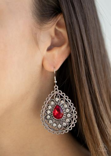 Paparazzi Eat, Drink, and BEAM Merry-red Earrings New