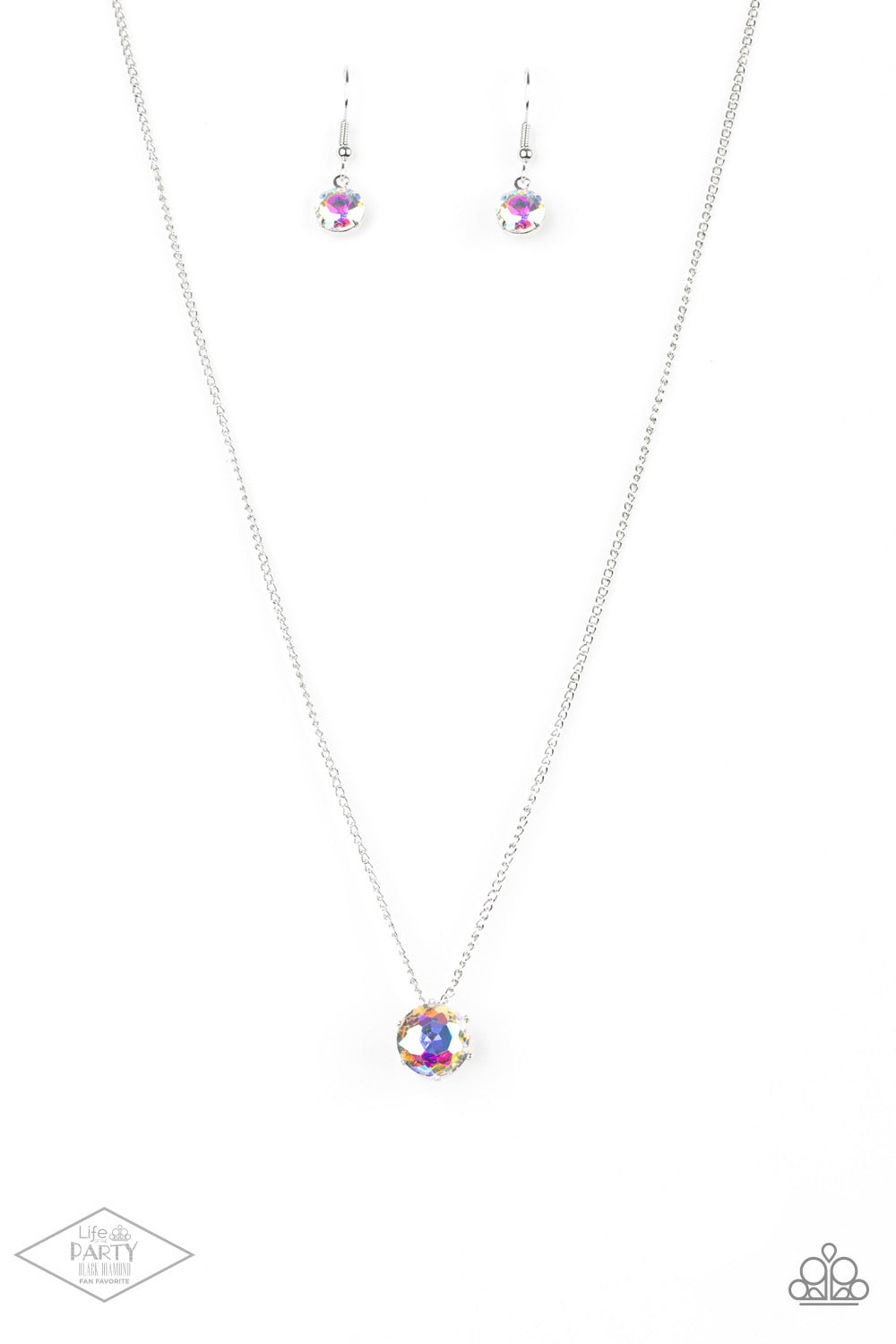 What a Gem Multi Colored Iridescent Rhinestone Necklace Paparazzi New