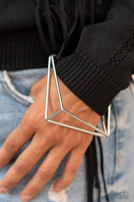IN ANOTHER DIMENSION - SILVER TRIANGLE FRAME GEOMETRIC BANGLE BRACELET Paparazzi