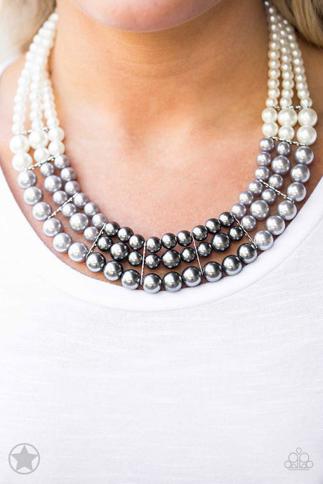 Paparazzi Lady In Waiting White Silver and Gray Pearl Necklace Blockbuster