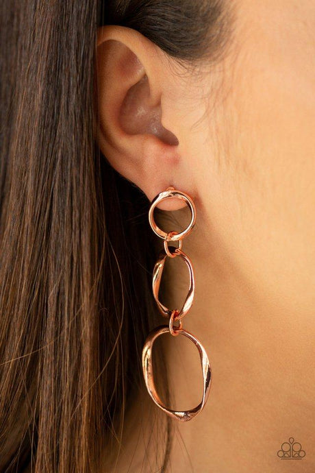 Three Ring Radiance - Copper Post Earrings Paparazzi Accessories New