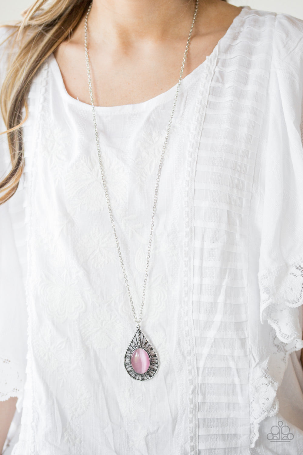 Total Tranquility – Paparazzi – Pink Moonstone Silver Teardrop Pendant Necklace