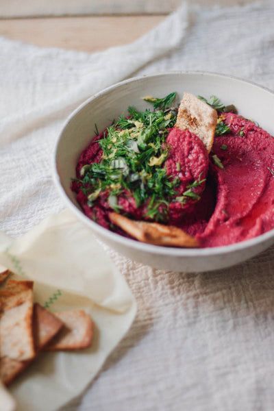 Eat Fuchsia  |  Roasted Beet Hummus and Crispy Pita Chips