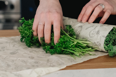 Keep Greens Alive for longer with Abeego Beeswax Wrap that Breathes