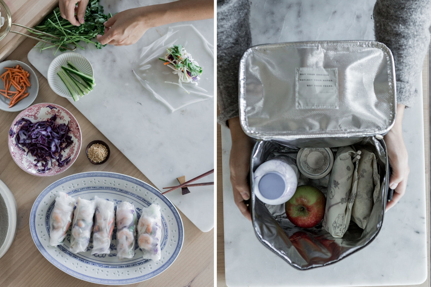 How to save salad rolls for lunch | Abeego beeswax food wrap
